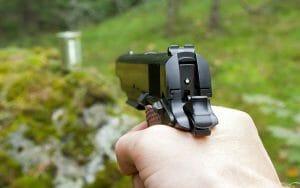 gripping a pistol